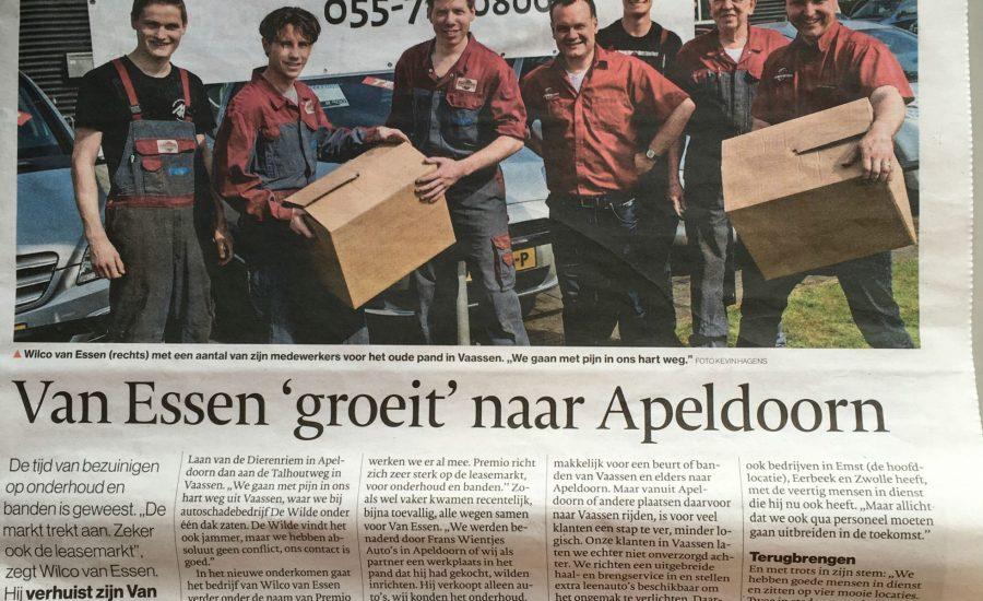 Persbericht over verhuizing van Van Essen Vaassen naar Apedoorn in het Vaassens Weekblad