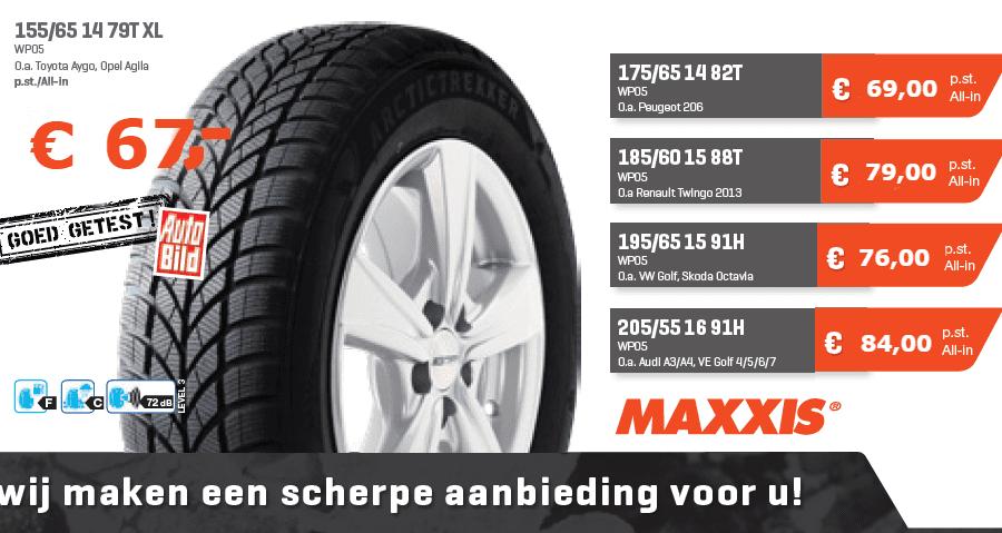 Maxxis WP05 winterband met aantal prijzen geldig bij Van Essen Emst, Eerbeek, Apeldoorn, Zwolle