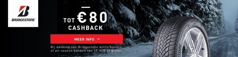 Tot 80,- cashback op Bridgestone banden bij Van Essen