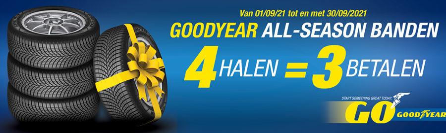 3 Goodyear Vector banden op een stapel en 1 band met een gele strik erom ernaast vanwege de 4 halen is 3 betalen actie