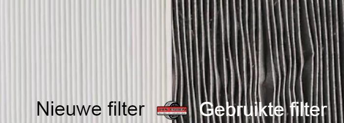 Voorbeeld van een nieuwe en gebruikte interieurfilter