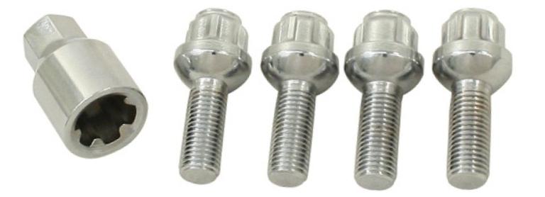 4 wieltbouten en een adaptor vormen samen wielsloten
